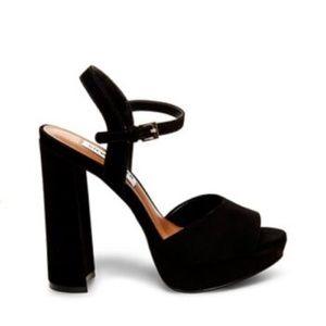 Steve Madden Kierra Black Suede Platform Heels